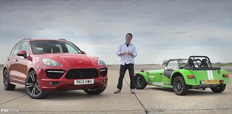 Porsche Cayenne Turbo S vs Caterham 7 Supersport