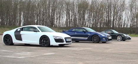 Audi R8 V10 plus vs Nissan GT-R vs Porsche 911 Turbo S