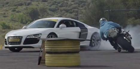 BMW S1000RR and Audi R8 Gymkhana