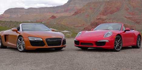 Audi R8 Spyder vs Porsche 911 Carrera S Cabriolet