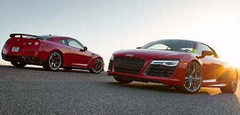 Audi R8 V10 plus vs Nissan GT-R Track Pack