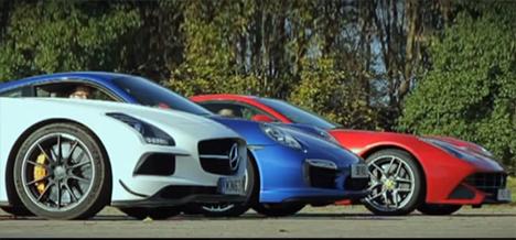 Mercedes SLS AMG Black Series vs Porsche 911 Turbo S vs Ferrari F12 Berlinetta