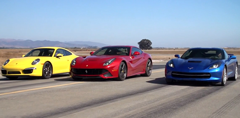 Porsche 911 Carrera 4S vs Chevrolet Corvette C7 vs Ferrari F12 Berlinetta
